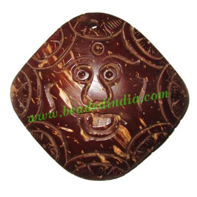 Handmade coconut shell wood Evil pendants, size : 59x63x3mm - Handmade coconut shell wood Evil pendants, size : 59x63x3mm