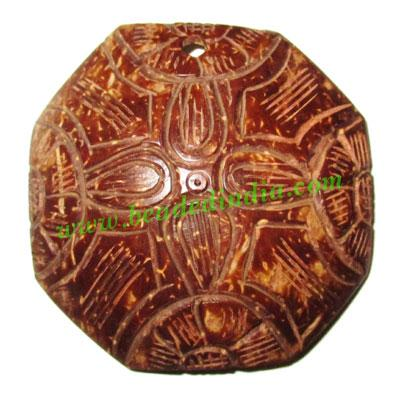 Handmade coconut shell wood pendants, size : 52x3mm - Handmade coconut shell wood pendants, size : 52x3mm