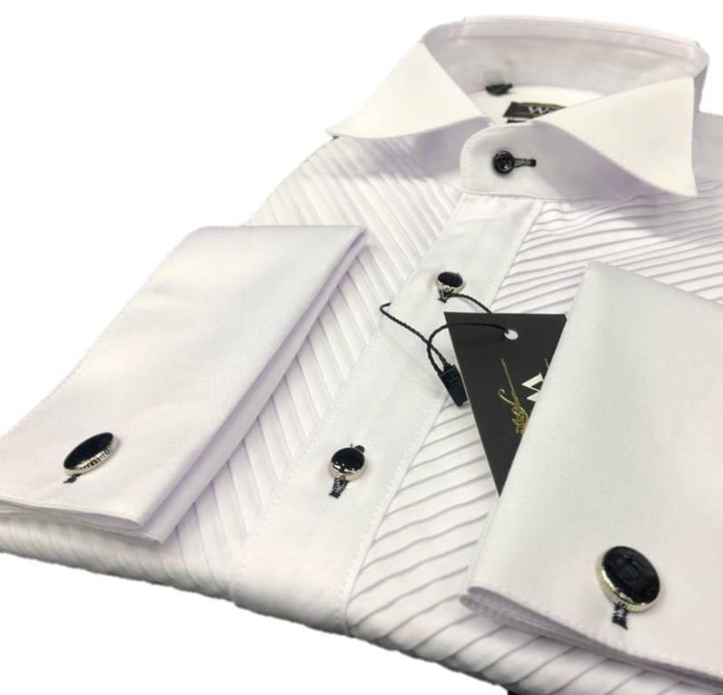 Pleated tuxedo shirts for men - Tuxedo men's shirts with french cuffs