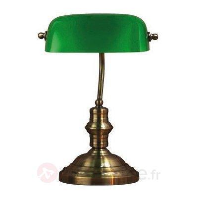 Lampe à poser classique Bankers 42 cm verte - Lampes à poser classiques, antiques