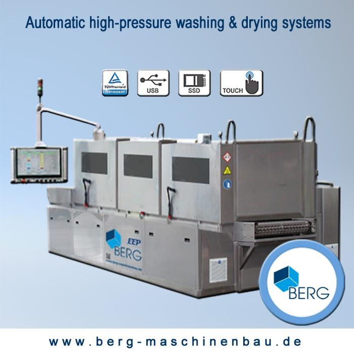 Automatic high-performance washing & drying system - for the efficient cleaning of elastomers - in through-feed method