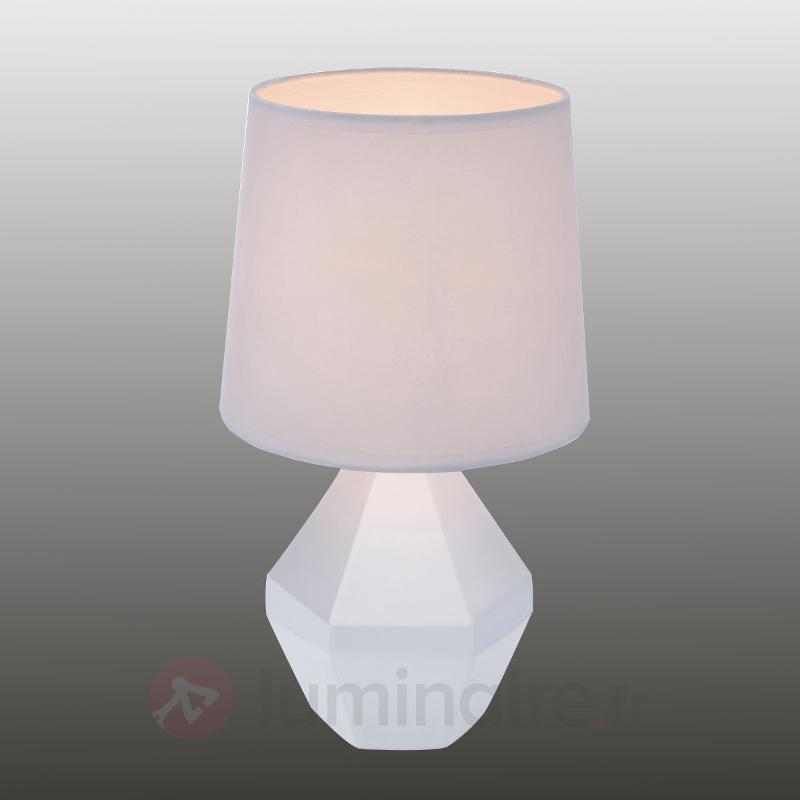 Lampe à poser blanche Ruby avec pied céramique - Lampes à poser en tissu