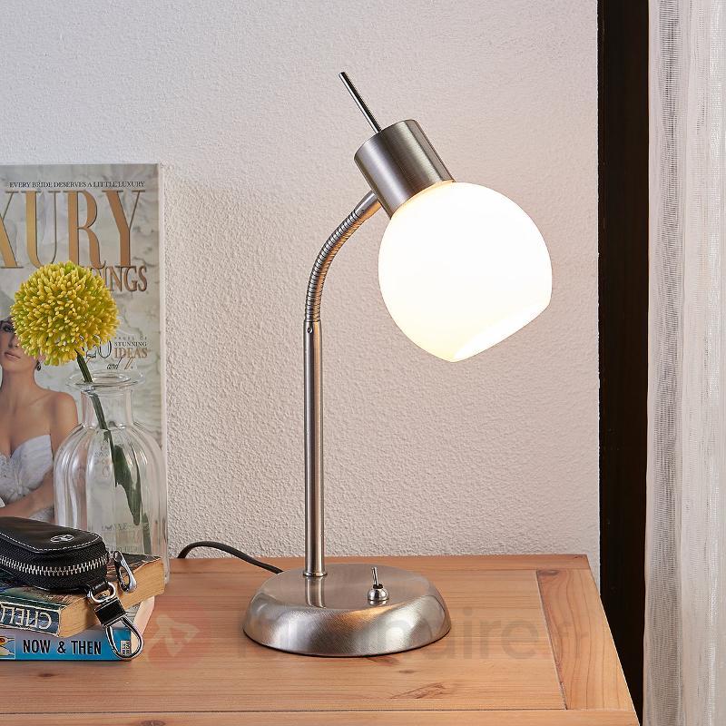 Lampe à poser LED Manon avec abat-jour blanc opale - Lampes à poser LED