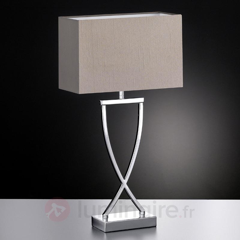 Lampe à poser textile Anni chromée-cappuccino - Lampes à poser en tissu