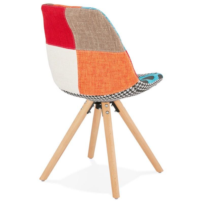 Chaise bohème patchwork en tissu pieds bois MANAO - Cette chaise apporte un esprit chaleureux à votre décoration