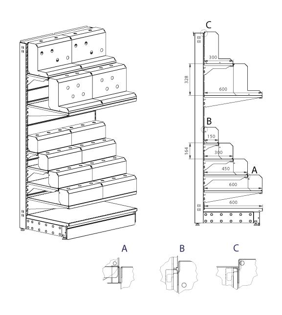 Modular shop rack systems & instore interior shelving design - Tap presentation (on shelves)