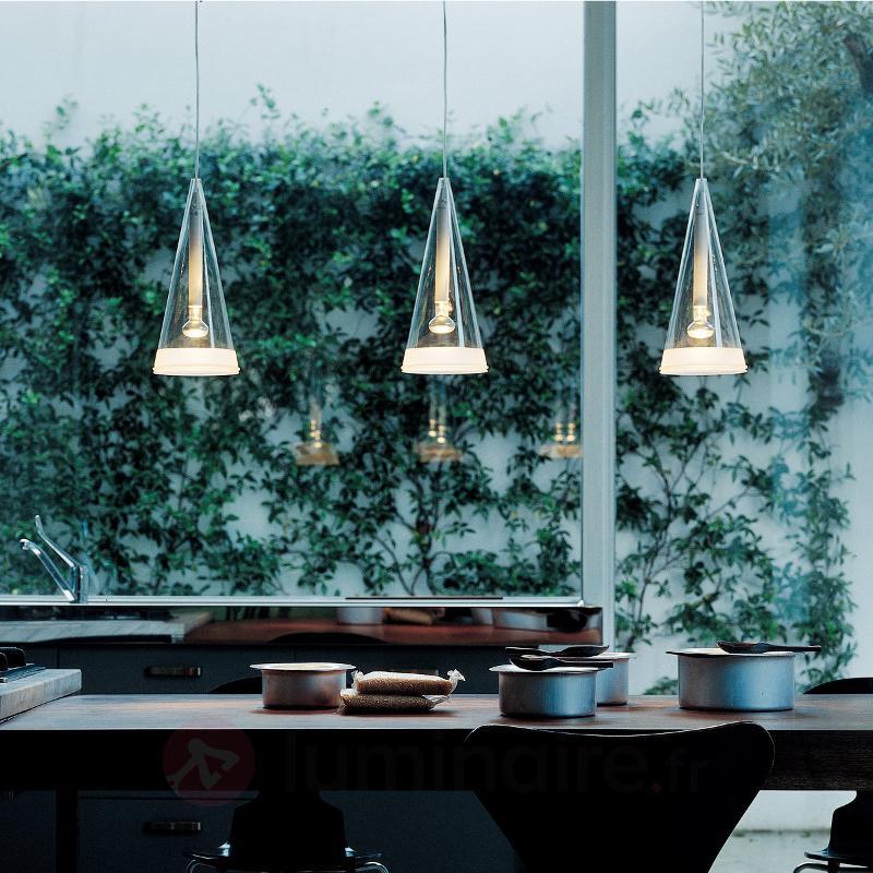 Suspension de verre à 1 lampe Fucsia - Suspensions design