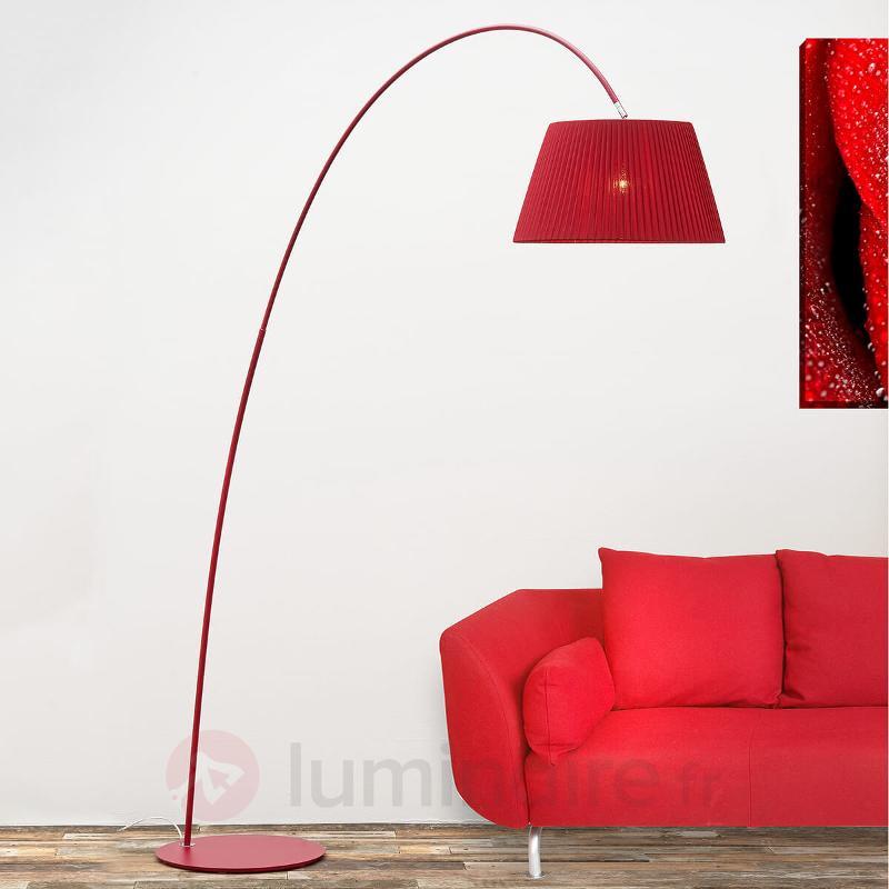 Lampadaire arqué Marion en rouge - Lampadaires en tissu