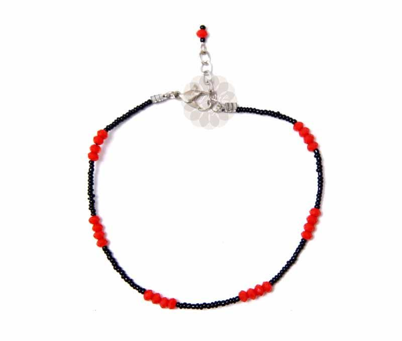 Black and Red Bead Anklet -