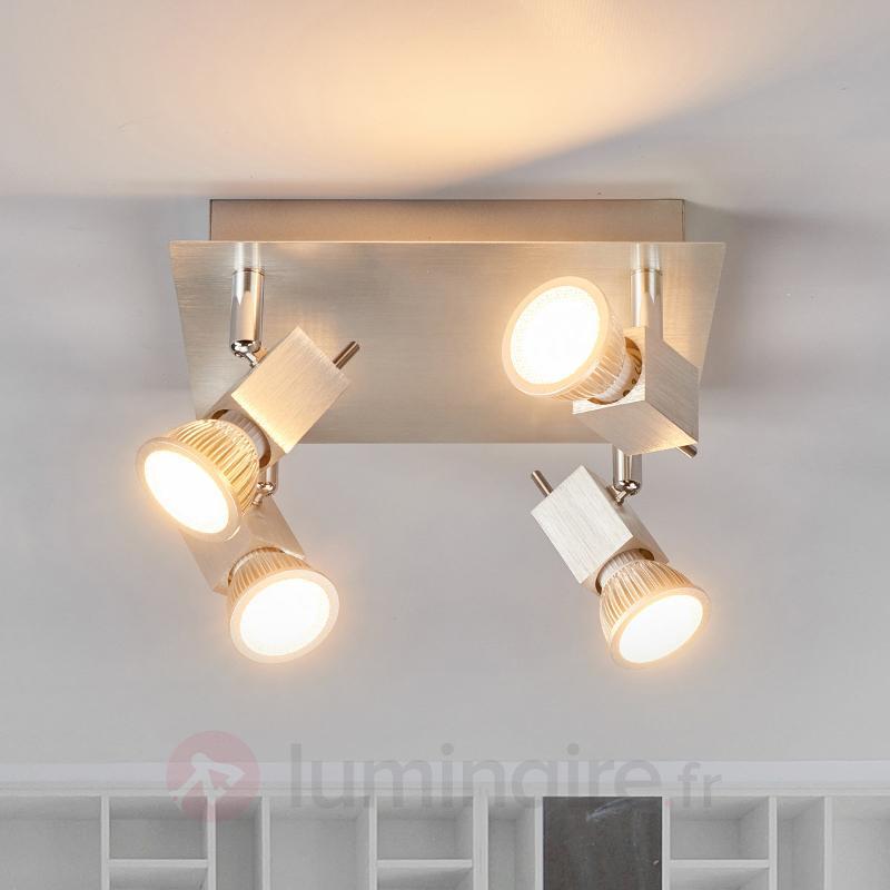 Plafonnier Sevina à quatre lampes en aluminium - Spots et projecteurs LED