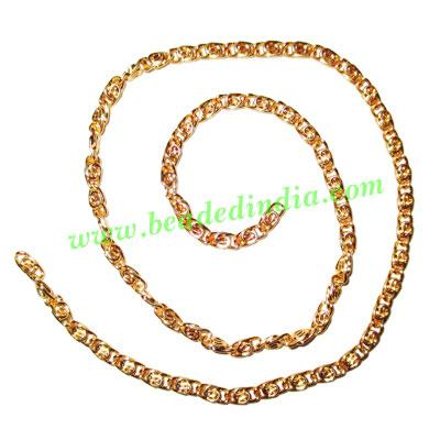Gold Plated Metal Chain, size: 1x3mm, approx 46.4 meters in  - Gold Plated Metal Chain, size: 1x3mm, approx 46.4 meters in a Kg.