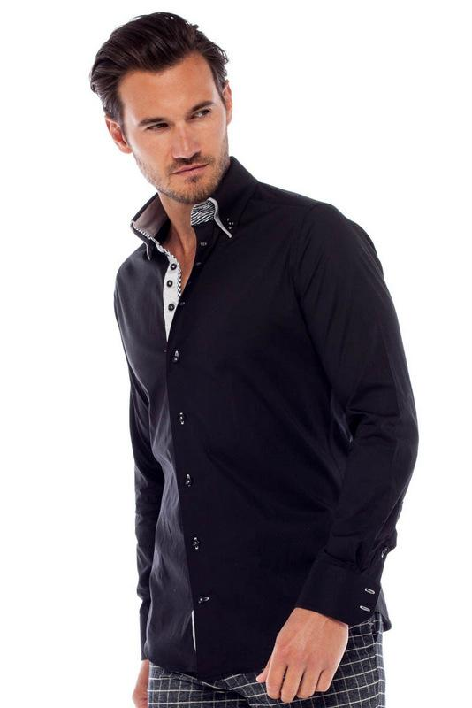 Private Label Double Collar Black Dress Shirts
