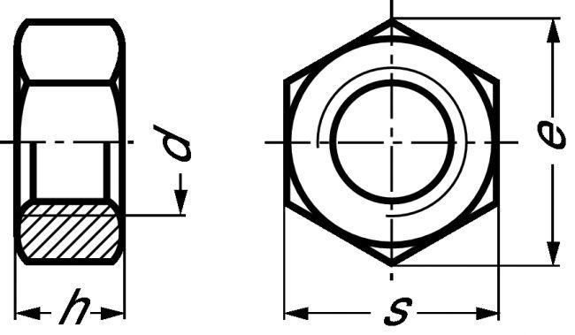 215641 ECROU HEXAGONAL (HU) LUBRIFIÉ H = 0,8 D INOX A2 - DIN 934 - Inox A2