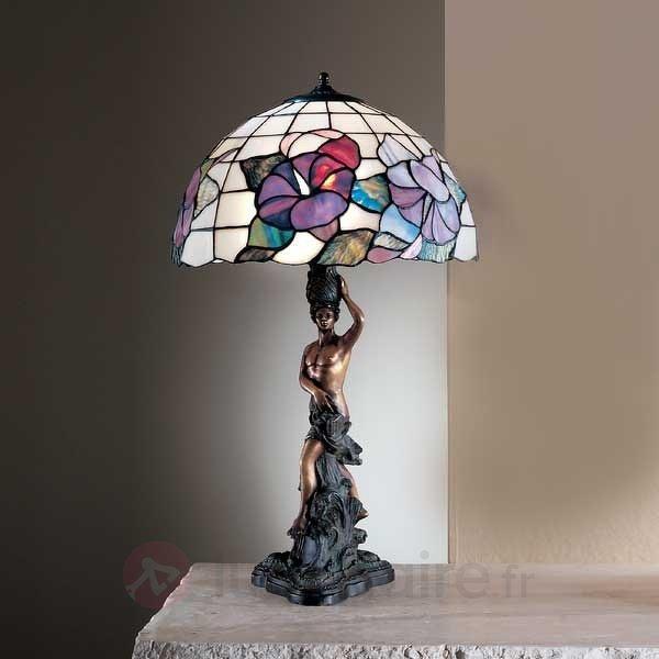Lampe à poser Tiffany EMELIE 40 avec statue - Lampes à poser style Tiffany