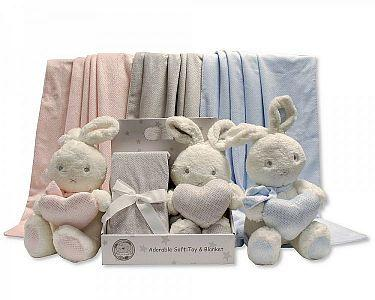 Baby Rabbit Toy with Blanket in Box  -