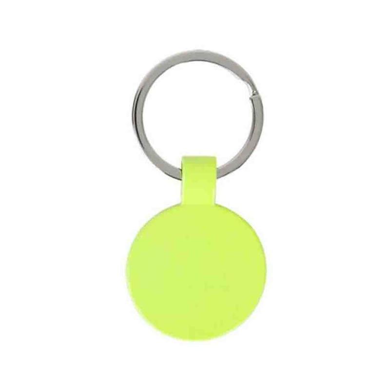 Porte-clés rond jaune fluo - Porte-clés métal