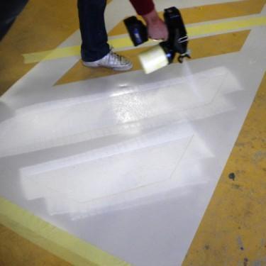 Pochoir industriel pour sol - Pochoir Polycarbonate 45°