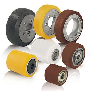 Wheels and rollers - for pallet trucks, stackers and other forklift trucks