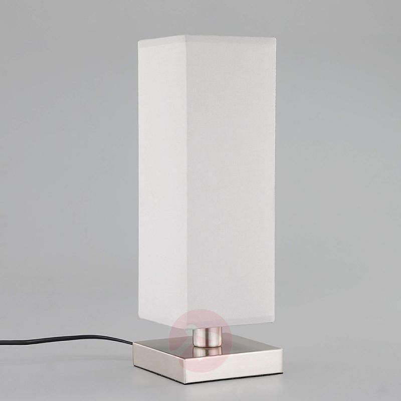 Julina - fabric bedside table lamp in light grey - indoor-lighting