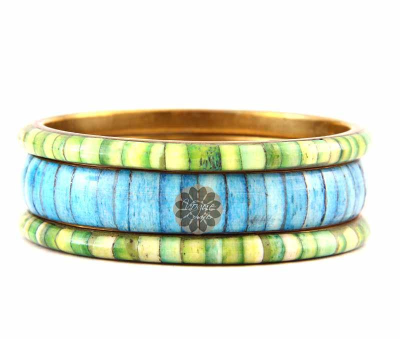 Green and Blue Bangle Stack -