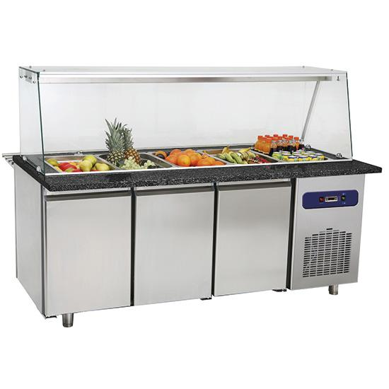 Refrigeration - refrigerated preparation counter with glass structure, 6x GN