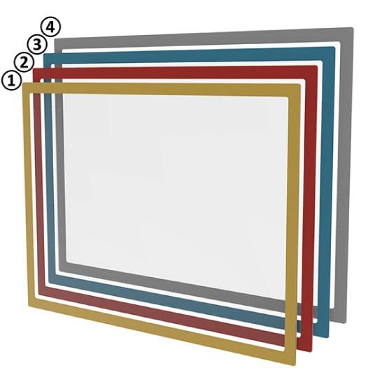 Magnetic document windows - Document protector DIN A3 & A4 information provision various colours