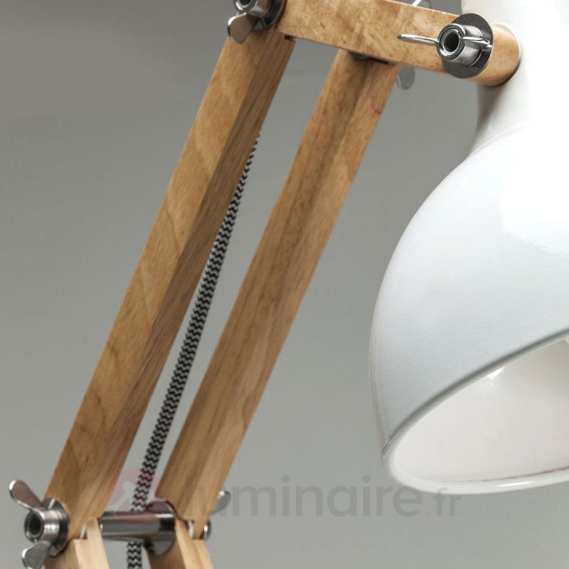 Lampe de bureau blanche Work Station avec bois - Lampes de bureau