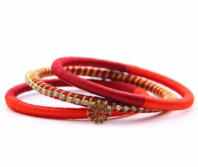 Traditional Red Bangle Stack -