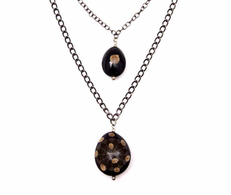 Black Double Chain Pendant -