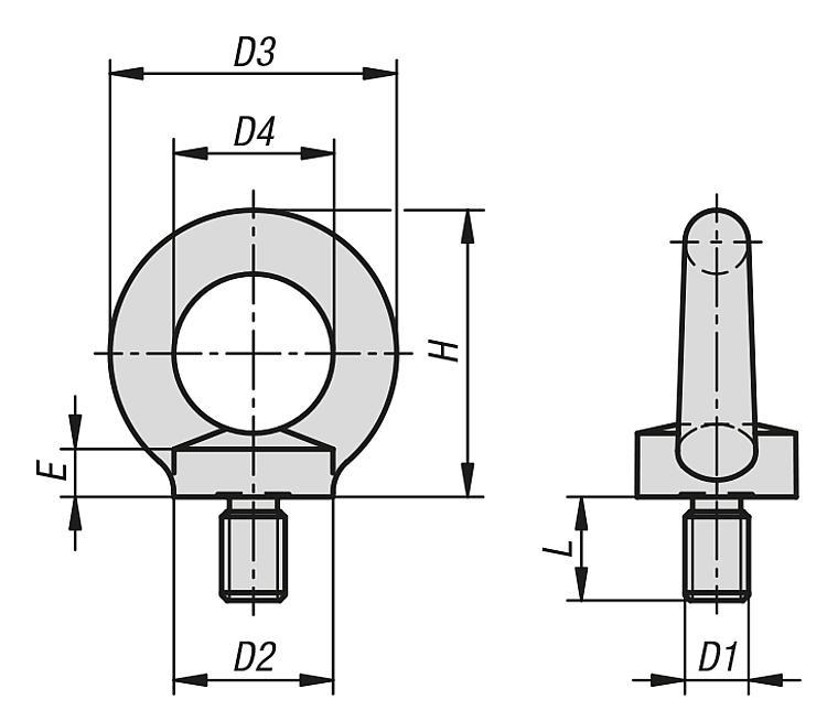 Ring Bolts Similar To Din 580 - Fasteners Ball-end thrust screws Thrust screws and thrust pads Grippers Torque b
