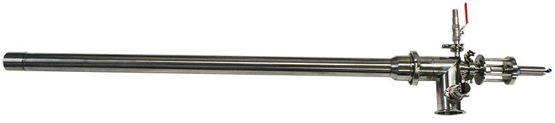 Filling tube for dosing pumps - Pneumatic closing / precise thread break
