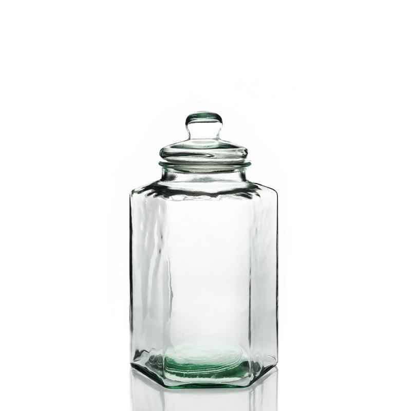 Grande vaso in vetro, bomboniera esagonale - in vetro 100% riciclato, e coperchio in vetro