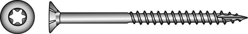 Senkkopf-Holzbauschrauben, TX-Innensechsrund-Antrieb - Material A2