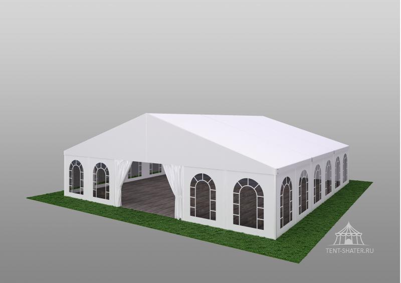 Двускатный шатер 15х15  - Алюминиевая каркасно-тентовая конструкция 15х15 м, двухскатная, быстросборная