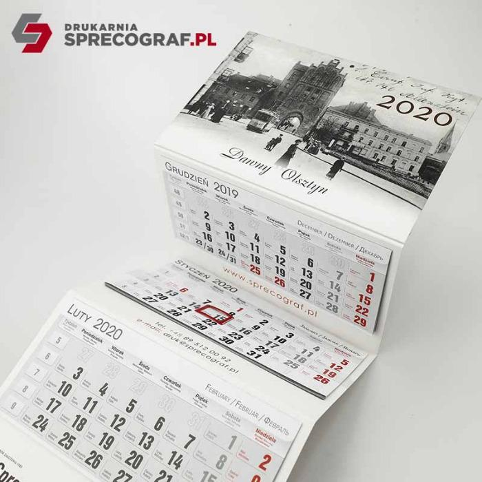 Kalendarze - trójdzielne, wieloplanszowe spiralowane, biurkowe stojące, biuwary