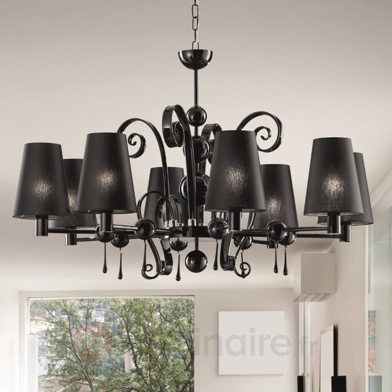 Lustre à 8 lampes Ginger noir - Tous les lustres