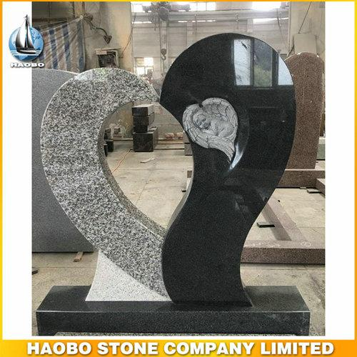 Special Single Heart Shape Angel Headstone For Cemetery - Heart Shape Angel Headstone, with made in black granite + white granite by Haobo