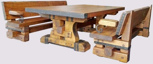 Дубовый набор мебели - Могучий - с кованным декором. - Дубовый набор мебели - Могучий - с кованным декором.