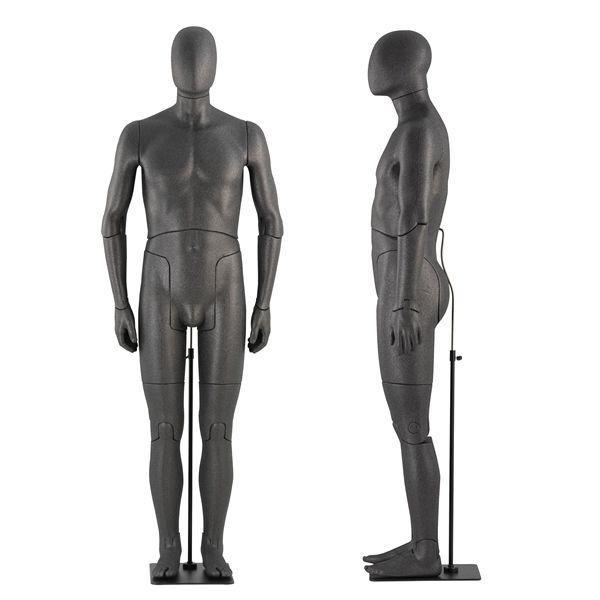 Mannequin de vitrine homme articulé - Mannequins de vitrine homme flexible couleur noire