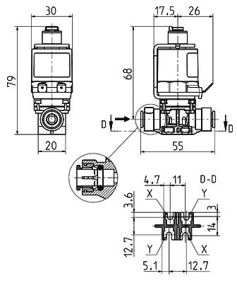 2/2 way direct acting solenoid valve NO, DN 2, 4  - 43.00x.182