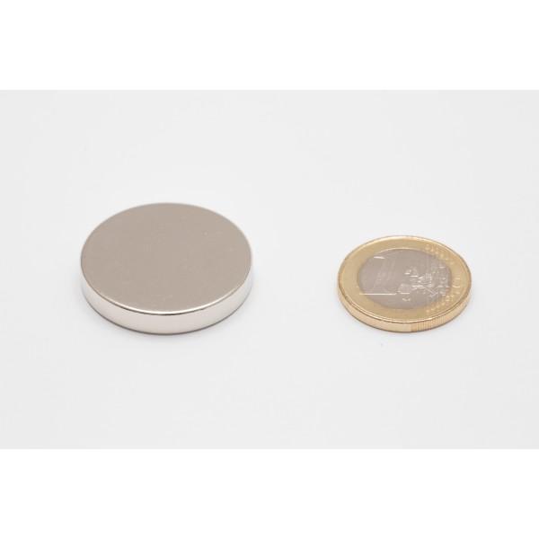Neodymium disc magnet 30x5mm, N45, Ni-Cu-Ni, Nickel coated - Disc