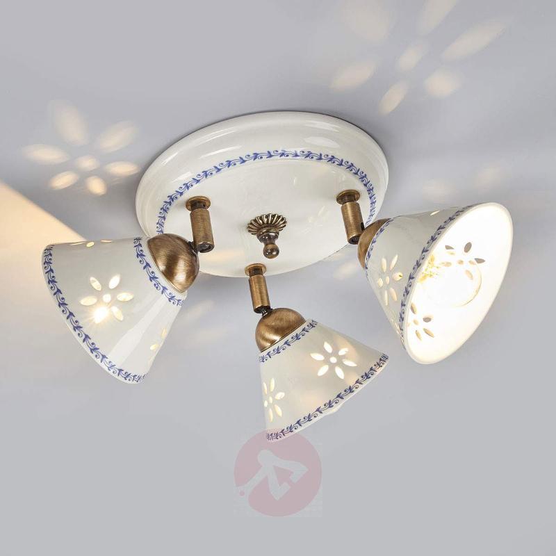NONNA ceiling light, made of white ceramic, 3-bulb - Ceiling Lights