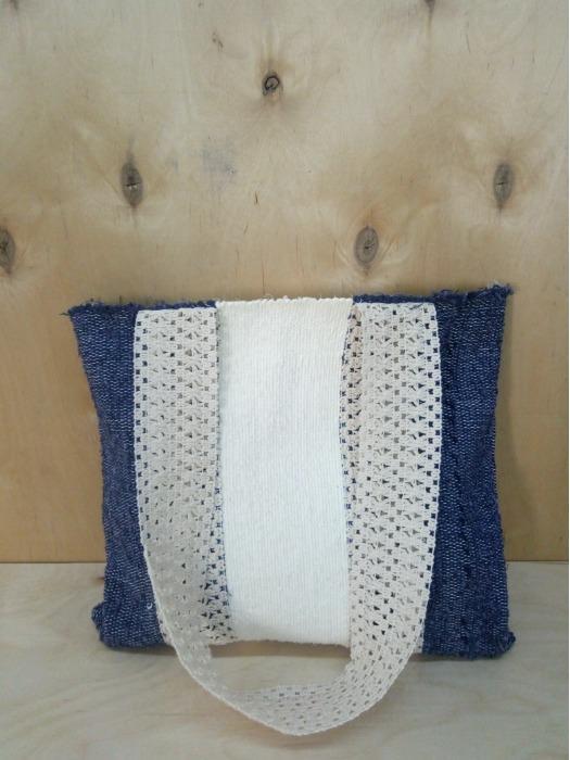 Textile woman tote bag - Handwoven,100% cotton!