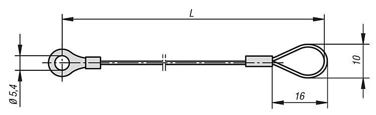 Pin Retaining Cables with eye - K0367
