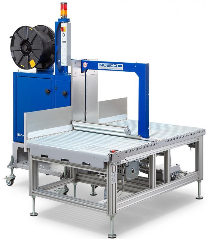 Evolution SoniXs MS-6 with Roller Conveyor MS-6 Base - Fully Automatic Side-Seal Strapping Machine with actuated Roller Conveyor
