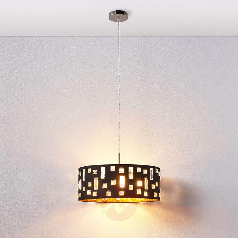 LED fabric pendant light Wilma - gold inside - indoor-lighting
