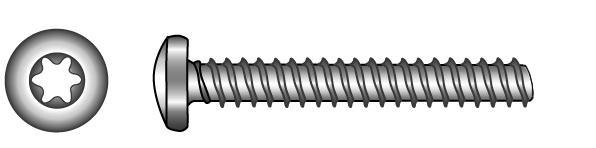 Linsen-Blechschrauben (Form F mit Zapfen), TX-Innensechsrund - Material A2