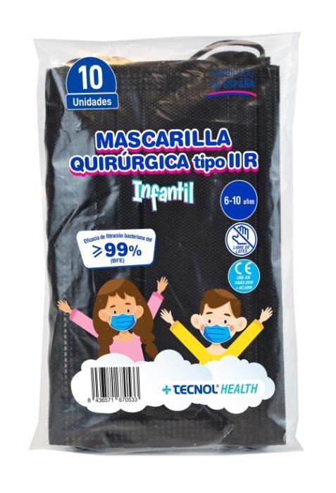 Mascarilla Quirúrgica tipo IIR Infantil Negra - Pack de 10uds