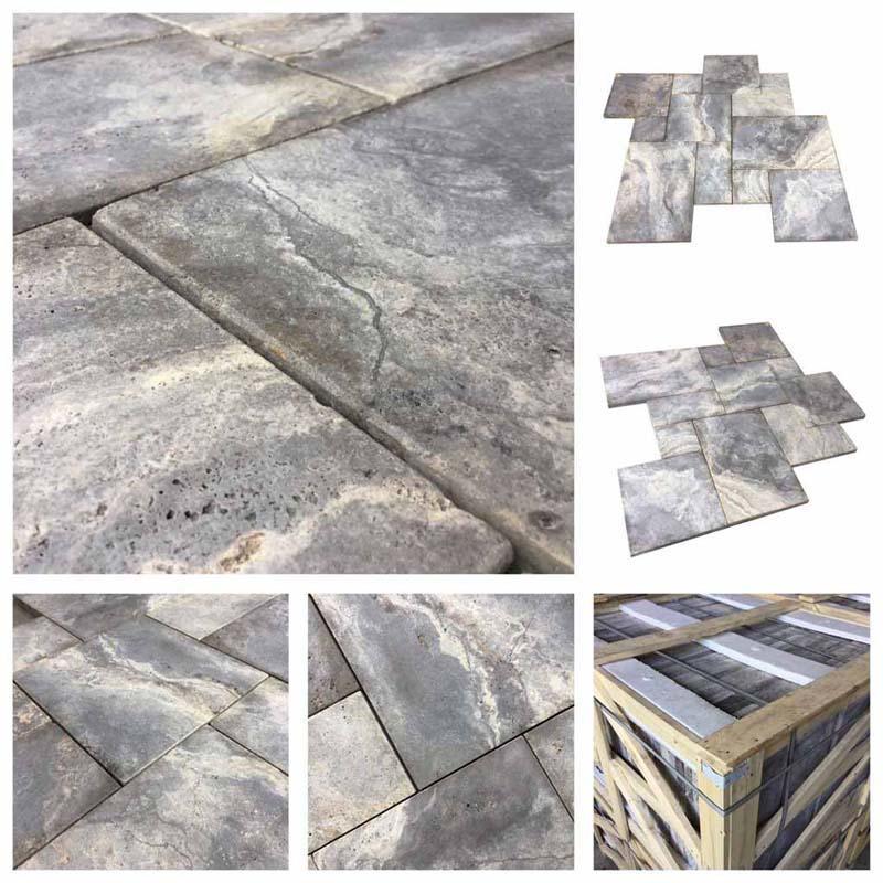 Terrassenplatten, Naturstein Silber Travertin  - Terrassenplatten aus grauem Travertin