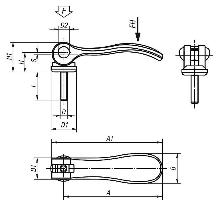 Cam Levers Internal And External Thread, Steel Or Stainless... - Clamp straps Clamping devices